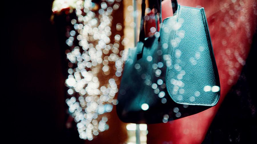 Close-up of hand bag at store