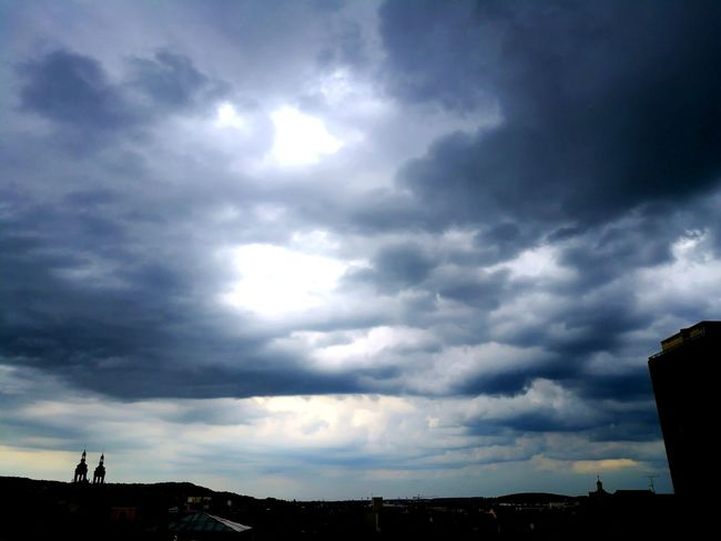 Cloud - Sky Dramatic Sky Silhouette Sky Outdoors Nature Storm Cloud No People Sunset Beauty In Nature City Day Thunderstorm The Great Outdoors - 2017 EyeEm Awards Nancy France