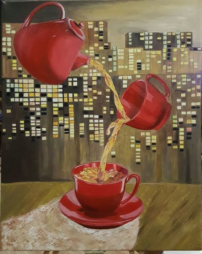 Close-up of red balloons on table