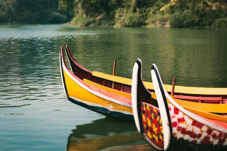 Kayaks Water Lake Mode Of Transportation Beauty In Nature Reflection No People Day Outdoors Non-urban Scene Gondola - Traditional Boat Kayak Calm The Traveler - 2019 EyeEm Awards The Great Outdoors - 2019 EyeEm Awards