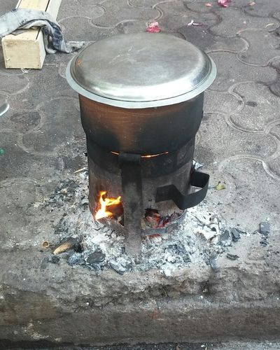 Outdoors Day No People Coal Stove Rural Style Cooking