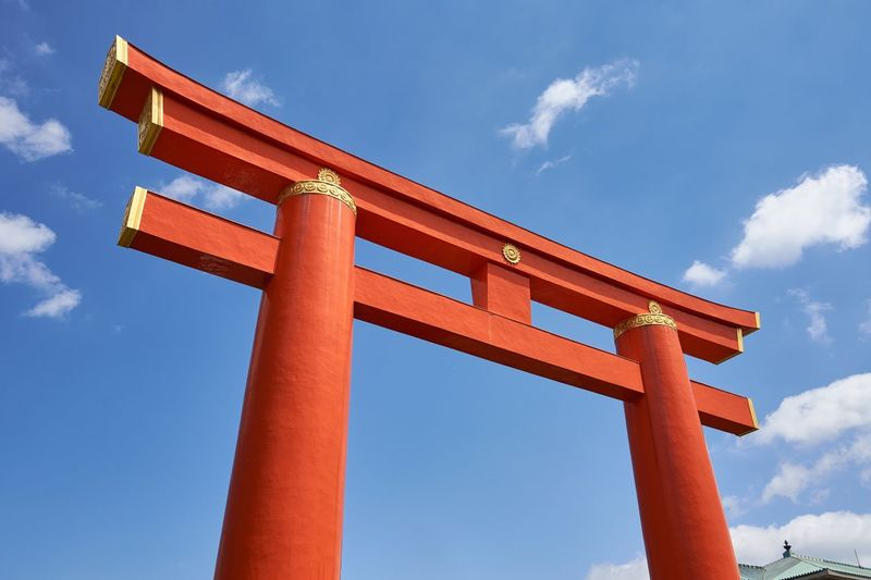 Heian Shrine, Kyoto Japan Kyoto Torii Gate Gate Orange Color Blue Sky No People Shinto Shrine Shinto Heian Shrine Heian Jingu Historic Japanese Culture Japanese Style Low Angle View Day Blue Built Structure Architecture Place Of Worship Spirituality Wooden Post Wooden Structure
