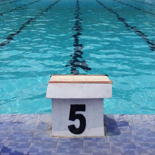 Swimming starting block number 5 against pool