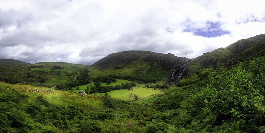 Irish landscape near Kenmare Beauty In Nature Cloud - Sky Green Green Color Hill Idyllic Ireland Irelandinspires Landscape Lush Foliage Mountain No People Non-urban Scene Outdoors Remote Scenics Sky Tranquil Scene Valley