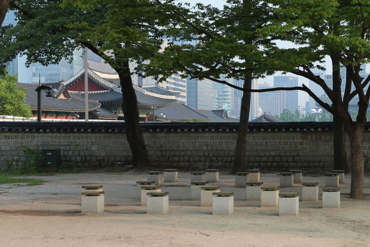 Cityscape Wall Benches Black Roof Rest Area Shelter Tiled Roof  Tradition & Modern Architecture