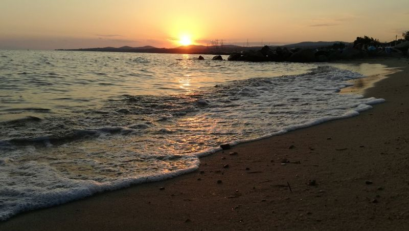 Sunset Beach Sea Sand Landscape Travel Destinations Tourism Nature No People Sky Vacations Wave Horizon Over Water Tranquility Low Tide Summer GREECE ♥♥ Beauty In Nature Outdoors