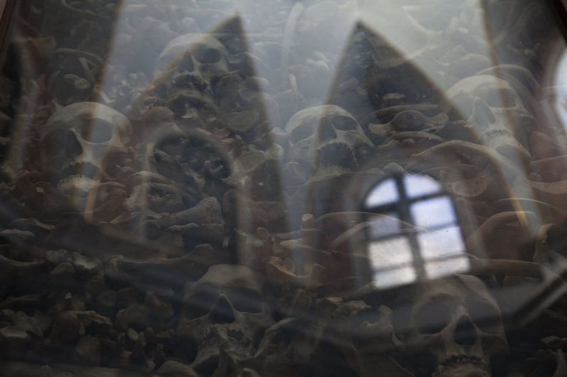Close-up of sea seen through window
