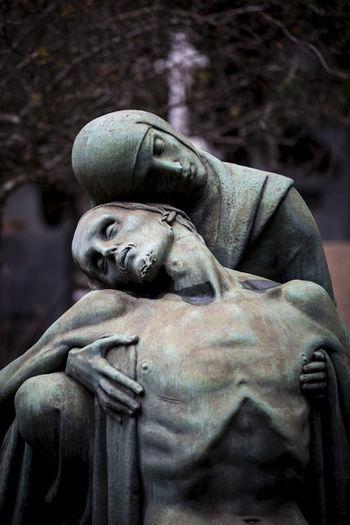 Cemetery Jesus Christ Virgen Mary Human Representation Outdoors Religion Sculpture Statue