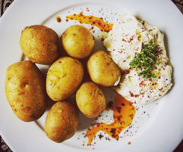 Freshness Plate Food Indoors  Close-up Ready-to-eat Indulgence Meal Cooked Appetizer Overhead View Temptation Serving Size No People Food And Drink Happy Potato Flowers Quark Herbs Love Happiness Home Creativity Life