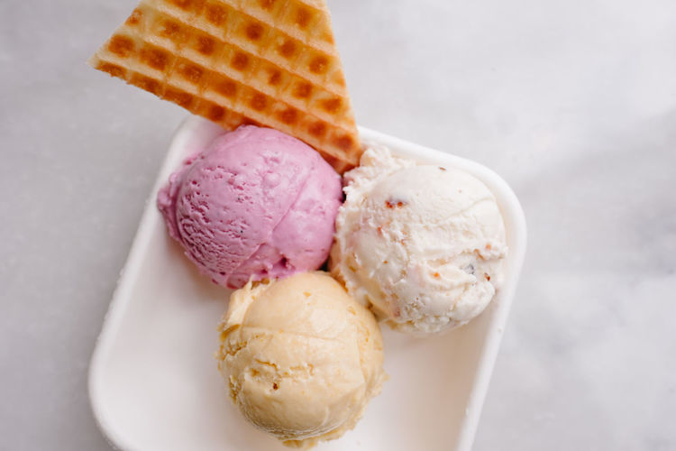Close-up of ice cream in plate against white background