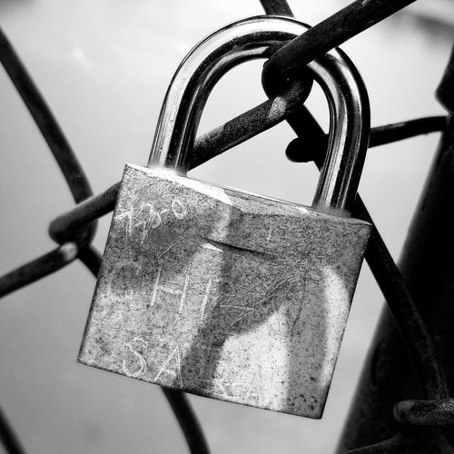 Hanging Lock Padlock Close-up Sky Love Lock Chainlink Fence Chainlink Fence Hope Faith Locked Latch Security Belief