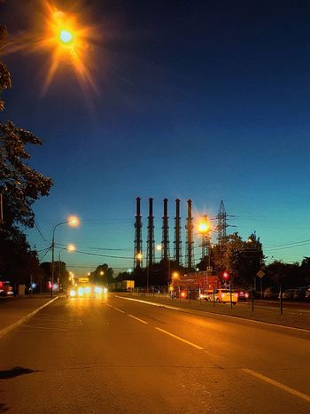 City Illuminated Tree Road Car Street Sky