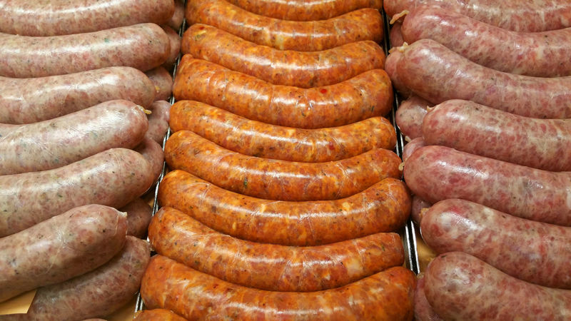 Fresh sausage or bratwurst in the window at the butcher shop. Abundance Arrangement Backgrounds Brat Bratwurst Butcher Close-up Detail Food Food Photography Foodphotography Fresh Freshness Freshness Full Frame Heap Large Group Of Objects Market Meat No People Raw Raw Food Repetition Sausage Still Life