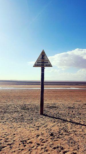 Sandbay 😊🌞 Here Belongs To Me Sea Sky Landscape Clouds And Sky Sand Signpost Clouds Danger Sign Blue Wave