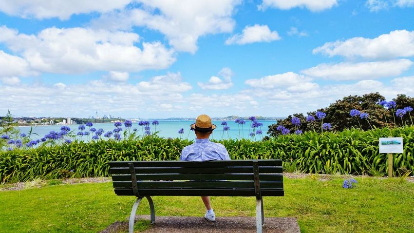 Rear View One Person Nature People Cloud - Sky Adults Only Sky Adult Day Outdoors Beauty In Nature One Man Only Wide Sea View Peace And Quiet Enjoyment😁 Relax Openness Waitemata Harbour Auckland New Zealand Blue Flowers Clouds And Sky Holidays ☀ EyeEmNewHere