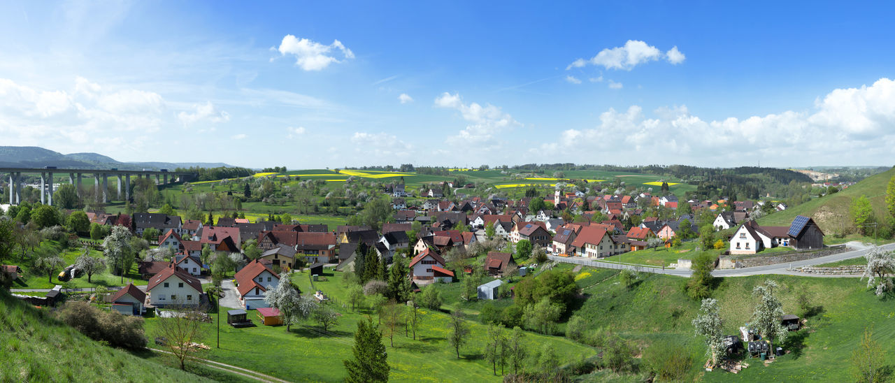 Panorama of Sulz-Muehlheim in spring, on the left the motorway A81 with the Muehlbachtalbruecke, Baden-Wuerttemberg, Germany Architecture Baden-Württemberg  Field Muehlbachtalbruecke Muehlheim Noise Panorama Panoramic Rural Sülz Sulz Am Neckar Traffic A8 Autobahn Bridge Countryside Freeway Germany Highway House Landscape Meadow Noise Pollution Spring Village