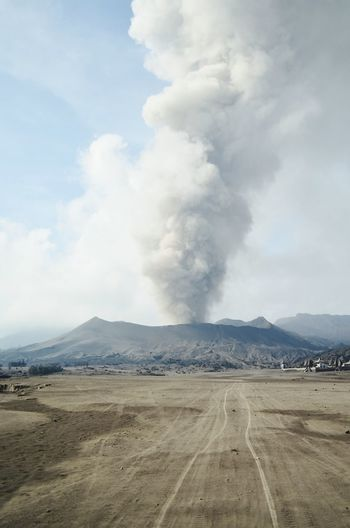Mount Bromo erupting in all its glory Bromo Mount Bromo Eruption Ash Volcano Cemoro Lawang INDONESIA Adventure Backpacking