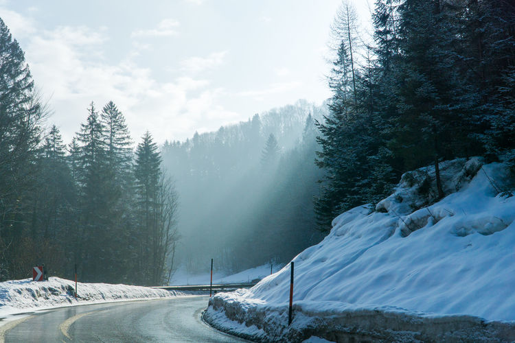 Cold Days Steiermark Austria Grundlsee Bad Aussee Winter Snow Tree Cold Temperature Plant Beauty In Nature Scenics - Nature Mountain Nature Sky Tranquility Tranquil Scene Day Non-urban Scene Covering Transportation White Color Forest Land Snowcapped Mountain Pine Tree