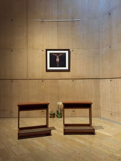 A quiet corner at the Cathedral of Our Lady of the Angels, Los Angeles. Contemplative Space Area Quiet Pew Wooden Wood Concrete Flooring Crucifixion Modern Architecture Religious  Building Empty Absence Day Spiritual DowntownLA Church Chapel Rafael Moneo Closed Catholic Fine Art Photography