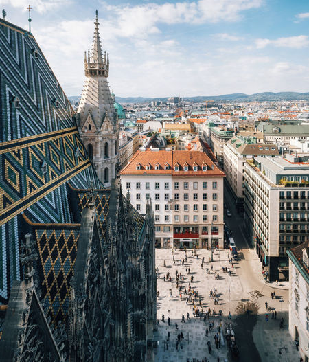 Aerial view of city center from St. Stephen's Cathedral, Vienna, Austria Austria Vienna Architecture Building Building Exterior Built Structure City Cityscape Cloud - Sky Crowd Outdoors Place Of Worship Religion Residential District Skyscraper Travel Destinations
