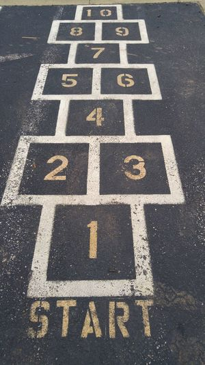 Hopscotch Road Marking High Angle View Street Full Frame The Way Forward Outdoors No People Hopscotch Game Games Blacktop Asphalt Lines Shapes Square Numbers Number Shape Squares Angles Childhood Games Childhood Fun Childhood Outdoor Games Jump