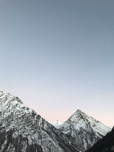 Alps Sunset Sunset Sky Cold Temperature Winter Mountain Snow Copy Space Beauty In Nature Nature Snowcapped Mountain Clear Sky Mountain Range Mountain Peak Outdoors Environment