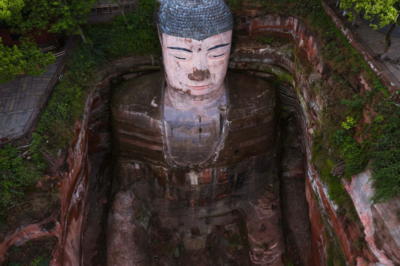 Leshan Giant Buddha China Landscape Architecture Landmark Outdoors Mountain Buddha Sculpture Great Great Views History Travel Travel Destinations Nature Beauty In Nature Creativity Spirituality Art And Craft Statue Religion Plant Craft Belief Day No People Tree