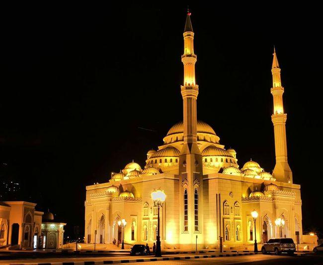 Illuminated Mosque Against Clear Sky