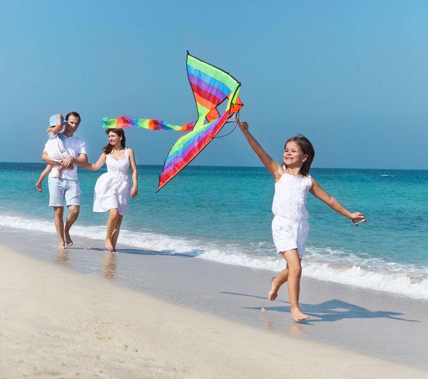 Full length of women on beach against sky