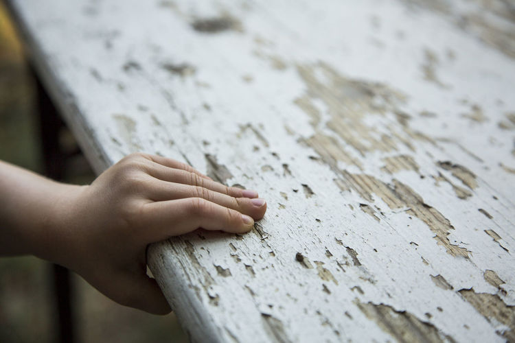 Close-up of person hand on wood