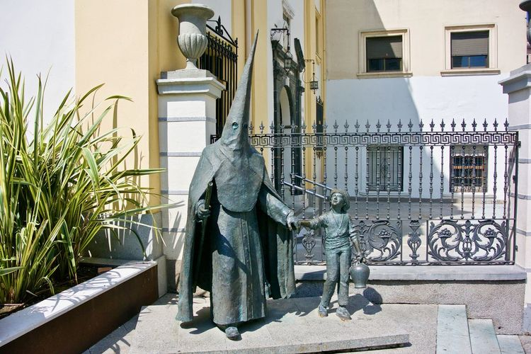 Catholic hat Bronze Ceuta Easter Hat Holy Week Nazareno Nazarenos SPAIN Statue Africa Art And Craft Bronze Statue Capirote Human Representation Monk  Penitent Pointy Hat Pointy Things Sculpture Statue