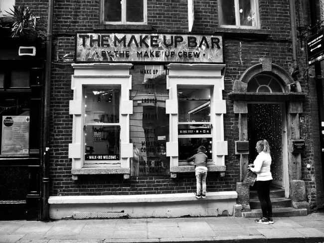 Who Is Getting Their Make Up Done? Peekaboo Beautician At Work Beauty Parlor Little Boy Peeking In The Window (c) 2017 Shangita Bose All Rights Reserved Temple Bar District Dublin, Ireland Façade Built Structure Building Exterior Make Up Full Length Day Outdoors Architecture City People