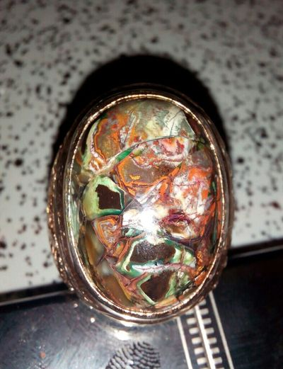 The lucky number 7 ,say somethin bout my Multicolour Agate Chalcedony Gemstone  ring. Gemstore