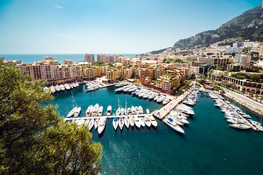 View of Fontvieille. Principality of Monaco City Cityscape Harbor Marina Mediterranean Sea Monaco Architecture Bay Building Exterior Built Structure Famous Place Fontvieille French Riviera Landscape Moored Mountain Nature Nautical Vessel Outdoors Port Principality Of Monaco Residential Building Sea Waterfront Yacht