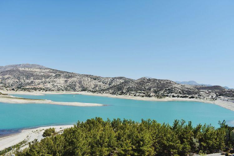 Greece Crete Lake Lake View Big Lake Trees Trees🌳🌲🌳 Lake Photography Water Blue Mountain Mountains