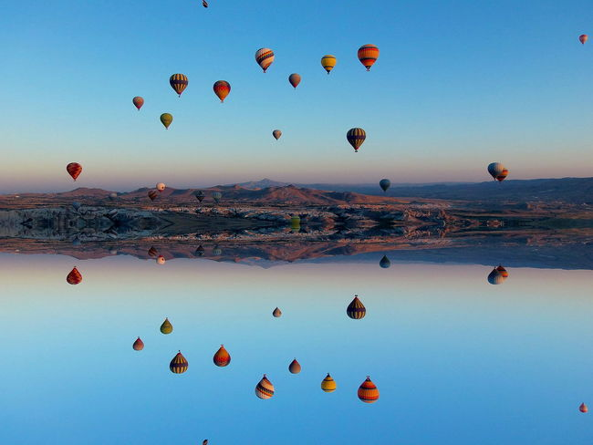 upside down Upside Down Cappadocia Goreme Open Air Museum Ballons In The Sky Ballons In Flight Flying Turkey Sky Blue Sunset No People Outdoors An Eye For Travel