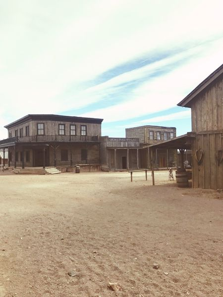 Old Western Town Old West  Ghost Town Movielot Eavesranch Oldwest Western Architecture Built Structure Building Exterior Sky Day Sand Outdoors No People Cloud - Sky