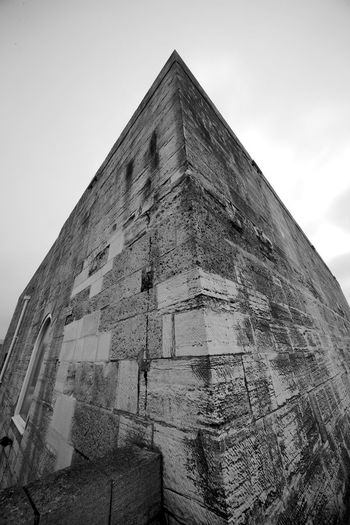 The Not So Square Tower Black & White Square Tower Ancient Architecture Blackandwhite Fort Low Angle View Stone Tower