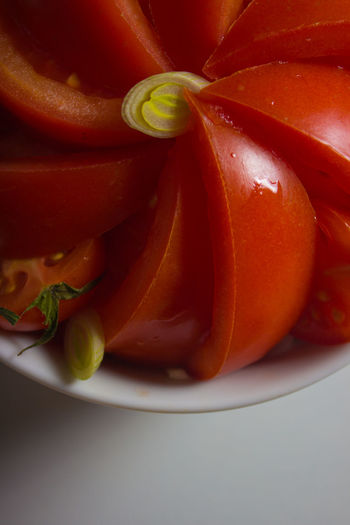 High angle view of tomatoes in plate