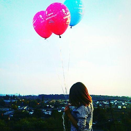 Happy Birthday! Sky City Life Flying Blue Girl Sky