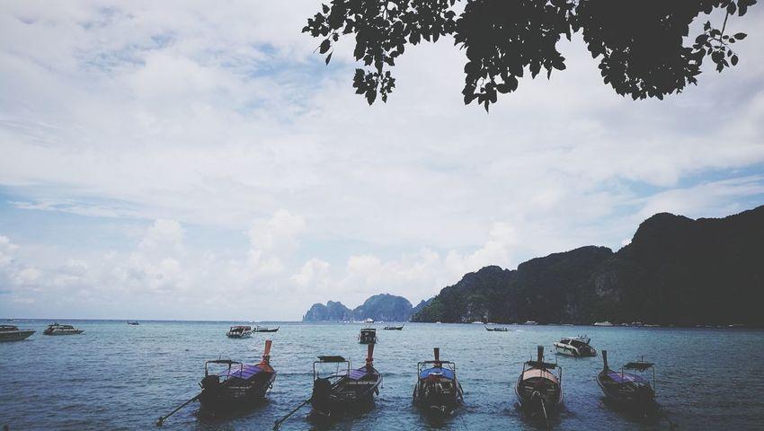 เรือหางยาว ทะเลไทยยังไงก็สวย เกาะพีพี PP Island Tree Water Nautical Vessel Sea Mountain Beach Sky Cloud - Sky Boat