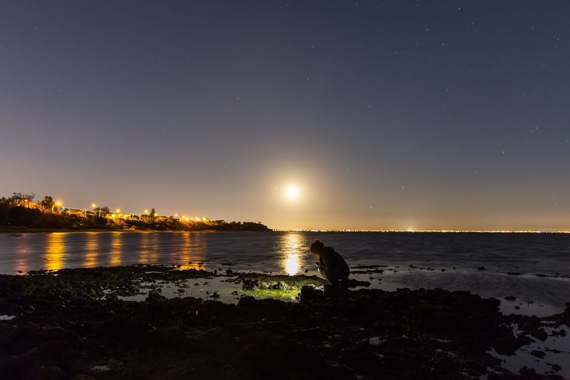 A beautiful cozy evening when the moon rises from horizon. Moon Rise Horizon Over Water Night Stars The Great Outdoors - 2016 EyeEm Awards Landscape_Collection Long Exposure By The Sea Evening Evening Sky People Of The Oceans