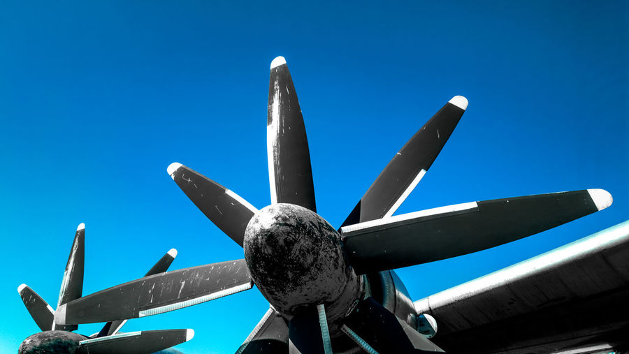 Low Angle View Clear Sky Blue Airplane Day Air Vehicle Mode Of Transport Outdoors No People Sky Flying Close-up Nature