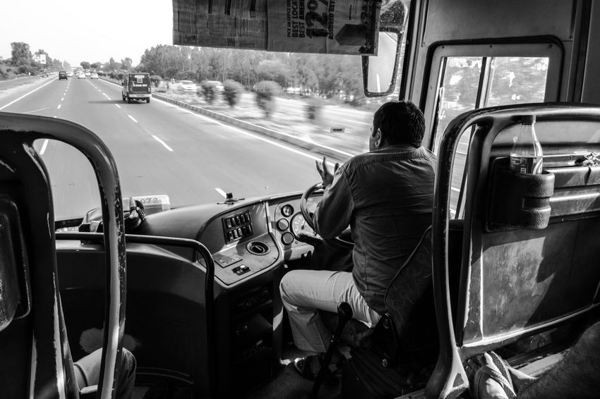 Architecture Building Exterior Bus Car City Day Full Length HRTC Indian Transport Land Vehicle Lifestyles Men Mode Of Transport One Person Outdoors People Real People Rear View Road Sitting Street Transportation