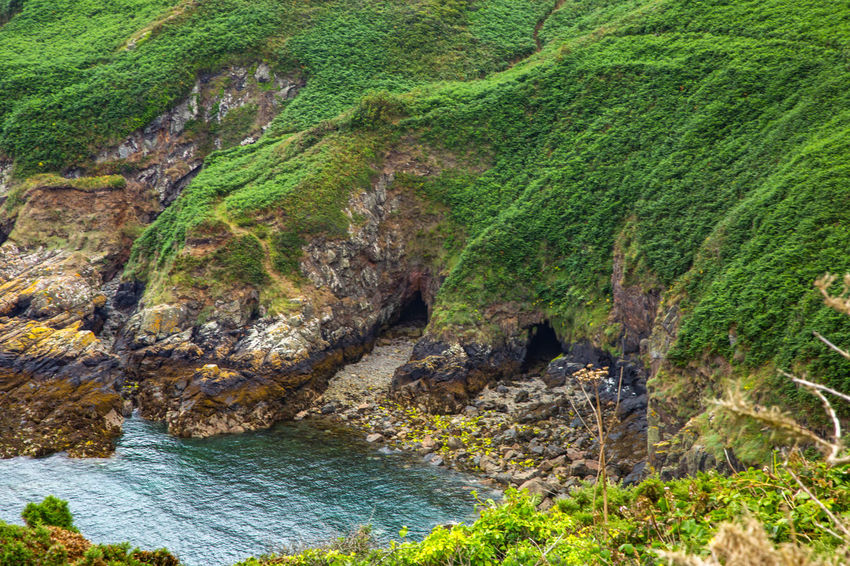 English Channel Eperquerie Isle Of Sark Beauty In Nature Cliff Day Grass Green Color Island Landscape Nature No People Outdoors Rock - Object Rock Face Rock Formation Sark Scenics Sea Tranquil Scene Tranquility Travel Destinations Water Waterfall