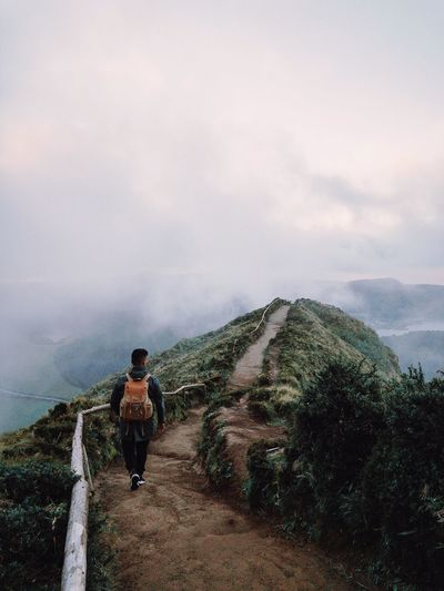 Speechless at first sight Nature Self Portrait Travel Destinations Portugal Azores Adventure Outdoors Personal Perspective Real People One Person Lifestyles Leisure Activity Sky Nature Beauty In Nature Men Plant Scenics - Nature Day Cloud - Sky Standing Mountain Outdoors Activity Autumn Mood 2018 In One Photograph