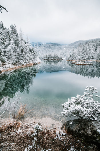 Scenic view of lake and snow covered mountains
