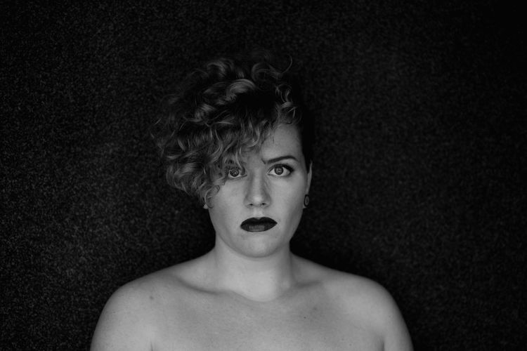 Mirroring the soul. Shirtless One Person Real People Headshot Indoors  Looking At Camera Portrait Young Adult Close-up Day People Women Around The World The Portraitist - 2017 EyeEm Awards Self Portrait Women Who Inspire You Strong Woman Feminism Curly Hair