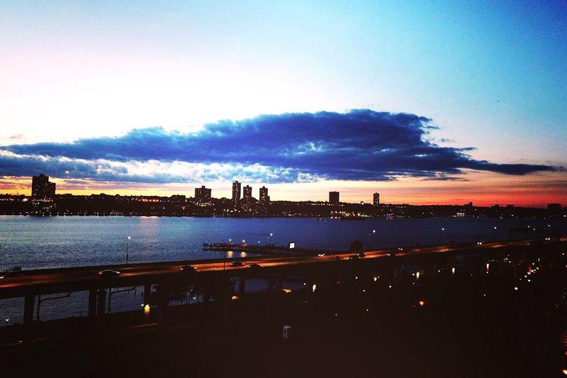 Home view.... Sunset Hudson River Nightlights Bridge Manhattan SummerinNYC 43 Golden Moments
