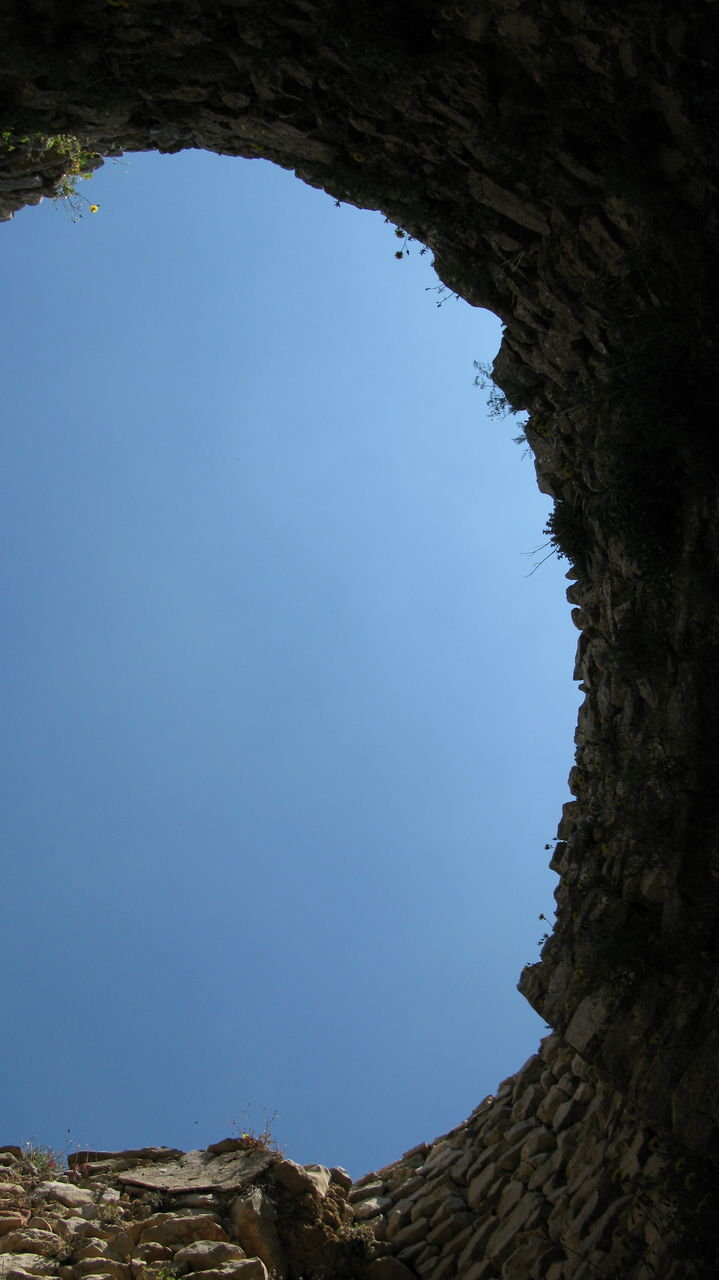 blue, clear sky, low angle view, day, no people, nature, tree, outdoors, beauty in nature, architecture, sky